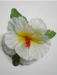 Single Hibiscus  Hair Clip - #40 white/ yellow