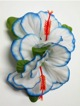 Double Hibiscus hair clip - #4 white /blue