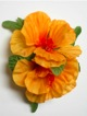 Double Hibiscus hair clip #33 light orange