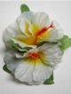 Double Hibiscus hair clip - #40 white /yellow