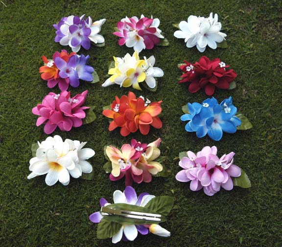 Hawaiian artificial flower hair clip colorfull artificial silk these plumeria hair clips are made of silk and make a beautiful hair accessory mightylinksfo
