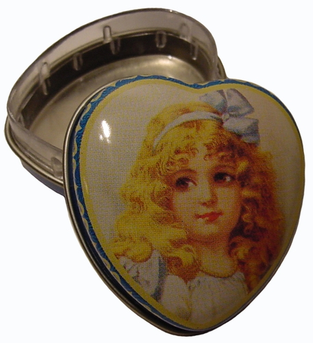 """Girl With Blue Bow"" Mini Heart Tin Box"