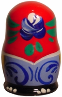 Handpainted Wooden Russian Thimble-Red With Rose