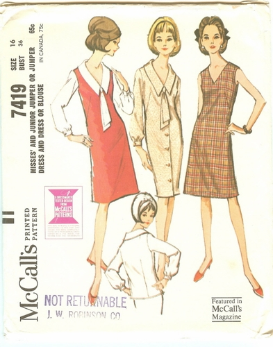 McCall's 7419 Dress, Jumper & Blouse, Bust 36""