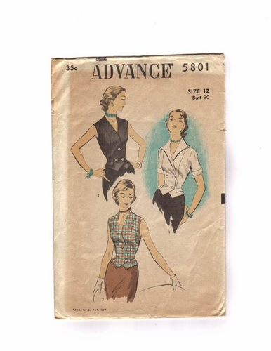 Advance 5801 Vest/Blouses, Bust 30""