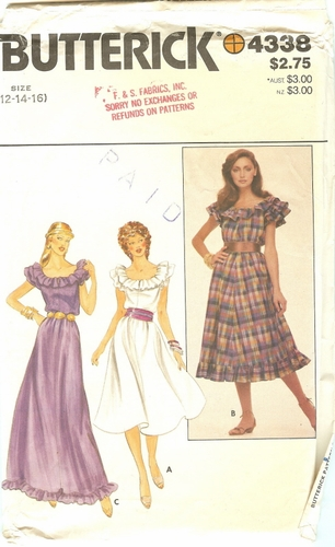 "Butterick 4338 Dress, Bust 34"" - 38"""