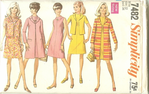 Simplicity 7482 Dress, Coat & Jacket, Bust 34""