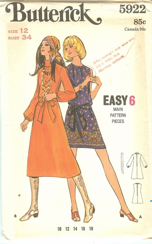 Butterick 5922 Dress,Bust 34""