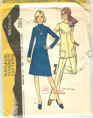 McCalls 2952 Dress,Tunic & Pants,Bust 36""