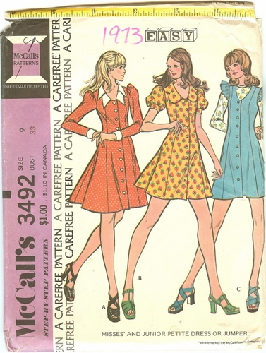 McCall's 3492 Dress Or Jumper, Bust 33""""