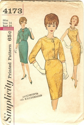 Simplicity 4173 Dress & Jacket, Bust 34""