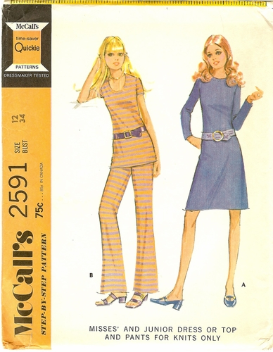 McCalls 259134 Dress,Top & Pants For Knits,Bust 34""