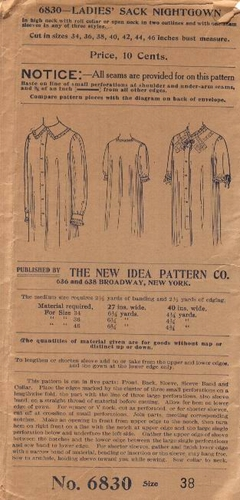 New Idea Pattern Co. Sack Nightgown, Bust 38""