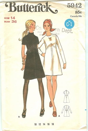 Butterick 5942 Dress,Bust 36""