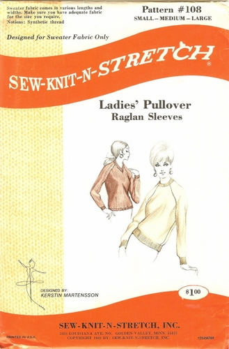Sew-Knit-N-Stretch Pullover, Small, Med. & Large