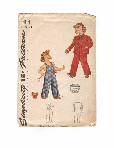 """Simplicity 4114 Overalls & Jacket, Bust 26"""""""