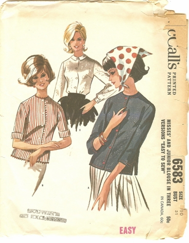 McCall's 6583 Blouse, Bust 31""