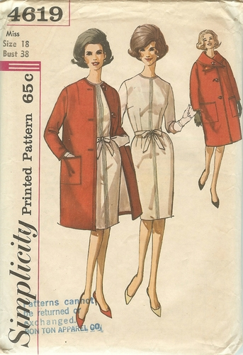 Simplicity 4619 Dress & Coat,Bust 38""