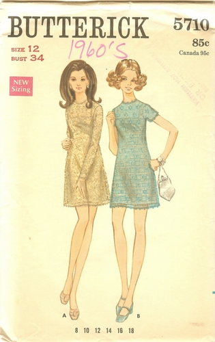 Butterick 5710 Dress, Bust 34""