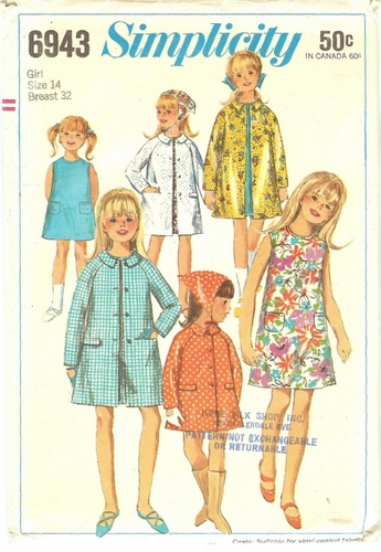 Simplicity 6943 Dress, Coat & Scarf, Bust 32""