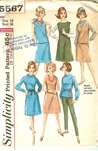 Simplicity 5567 Dress,Skirt,Blouse Pants & Westkit,Bust