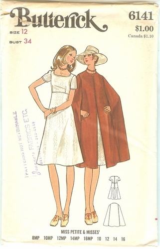 Butterick 6141 Dress & Cape,Bust 34""