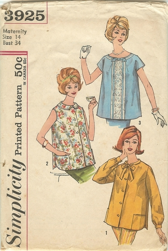 Simplicity 3925 Maternity Blouse,Bust 34""