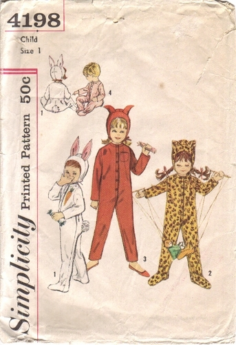 Simplicity 4198 Bunny, Leopard, & Little Devil Costume, Size 1, Chest 20""