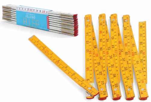 Kikkerland YELLOW Folding Carpenter's Ruler