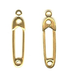 1 Dozen Gold Tone Safety Pin Charms
