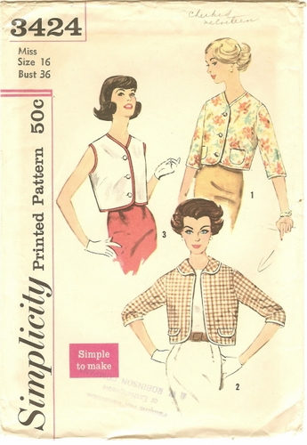 Simplicity 3424 Jackets, Bust 36""