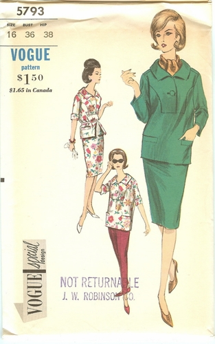 Vogue 5793 Special Design Blouse, Skirt & Slacks, Bust 36""