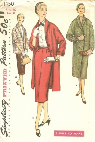 Simplicity 1450 Coat & Skirt, Bust 34""