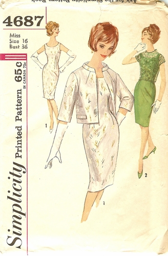 Simplicity 4687 Dress W/Jacket & Over-Blouse, Bust 36""