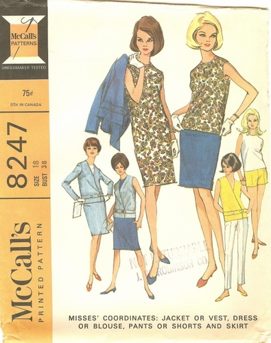 McCall's 8247 Dress, Blouse, Jacket, Vest, Skirt & Pants, Bust 38""