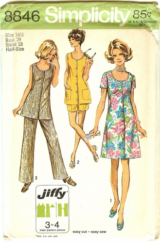 Simplicity 8846 Dress,Tunic,Shorts & Pants,Bust 39""