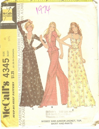 McCall's 4345 Jacket, Top, Skirt & Pants, Bust 32 1/2""