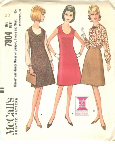 McCalls 7904 Dress,Jumper Skirt & Blouse,Bust 36""