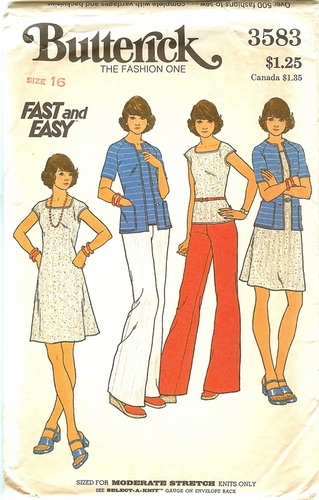 Butterick 3583 Dress,Sweaters & Pants For Knits,Bust 38""