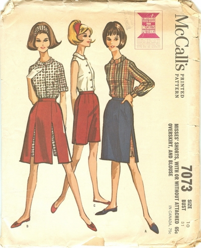 McCall's 7073 Shorts, Overskirt & Blouse, Bust 31""