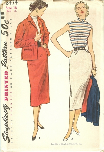 Simplicity 8474 Skirt, Jacket & Blouse, Bust 36""