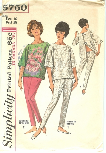 Simplicity 5750 Top & Hip-Hugger Slacks,Bust 36""