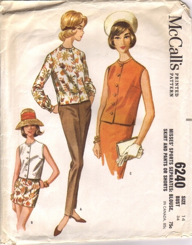 Mc Calls 6240 Blouse, Skirt, Pants & Shorts, Bust 34""