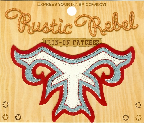 Rustic Rebel Red & Blue Iron-On Yoke Patch