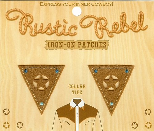 Rustic Rebel Brown Iron-On Collar Tips