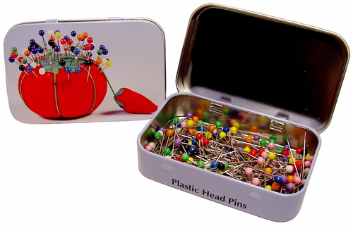 Hemline Colorful Plastic Head Pins With Tin Box