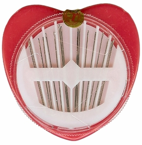 Hand Sewing Needles In A Heart Compact