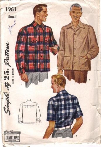 Simplicity 1961 Short/Long Sleeve Shirt - A, Size Small