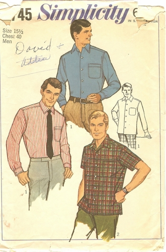 Simplicity 7745 Short/Long Sleeve Shirt, Neck 15 1/2""