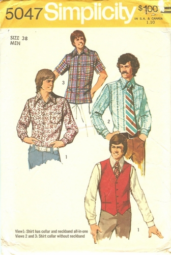 Simplicity 5047 Short/Long Sleeve Shirt & Vest, Size 38""